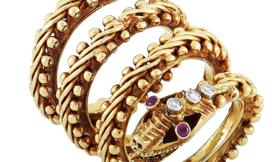 Ilias Lalaounis Ilias Lalaounis 18K Yellow Gold Diamond and Ruby Snake Ring