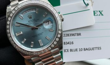 Rolex [NEW] Day-Date Ice Blue Baguette Index Platinum 228396TBR