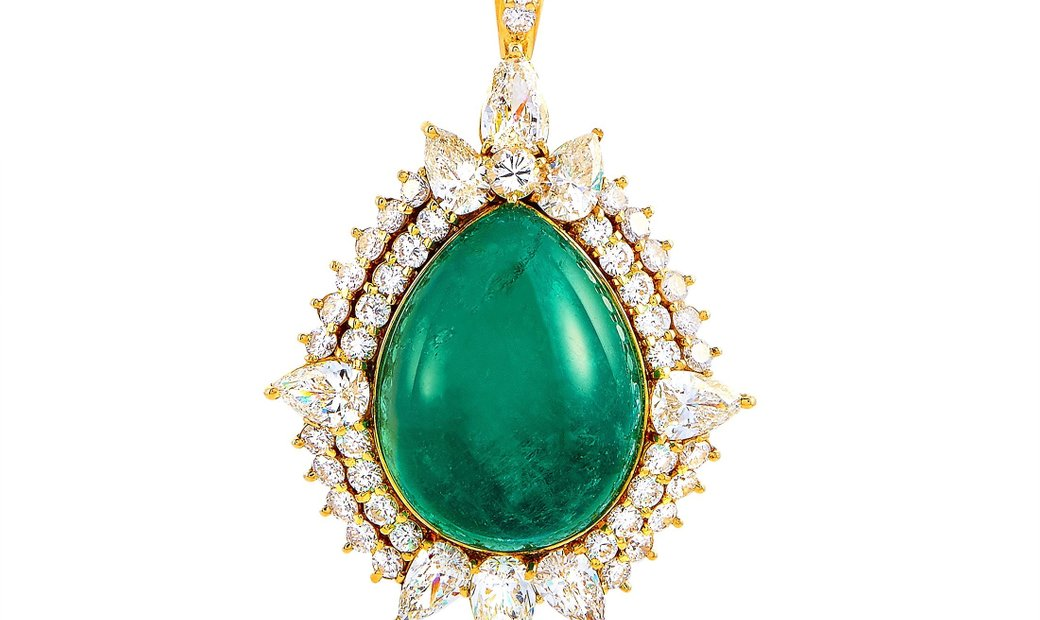 LB Exclusive LB Exclusive 18K Yellow Gold 4.70 ct Round/Pear Diamond and Emerald Pendant Necklace