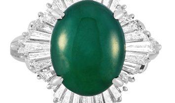 LB Exclusive LB Exclusive Platinum 1.52 ct Diamond and Jade Ring