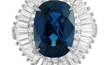 LB Exclusive LB Exclusive Platinum 2.36 ct Round and Tapered Baguette Diamonds and Sapphire Oval Rin