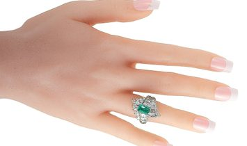 LB Exclusive LB Exclusive Platinum 2.45 ct Baguette and Marquise Diamonds and Emerald Ring