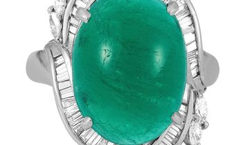 LB Exclusive LB Exclusive Platinum 1.15 ct Diamond and Emerald Ring