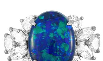 LB Exclusive LB Exclusive Platinum 1.79 ct Diamond and Black Opal Ring