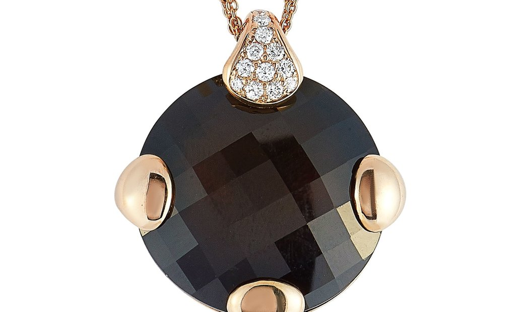 Antonellis Antonellis 18K Rose Gold 0.80 ct Diamond and Brown Gemstone Pendant Necklace