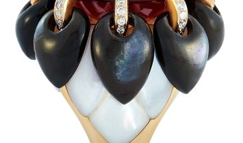 Oro Trend Oro Trend 18K Rose Gold 0.44 ct Diamond, Garnet and Mother of Pearl Ring