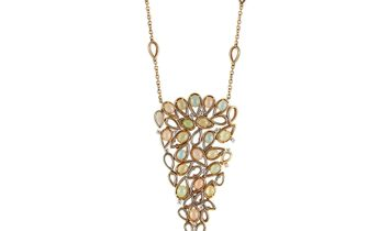 Oro Trend Oro Trend 18K Rose Gold 0.93 ct Diamond and Moonstone Necklace