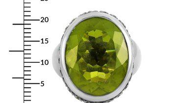 Oro Trend Oro Trend 18K White Gold 0.69 ct Diamond and Peridot Ring