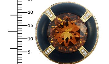 Oro Trend Oro Trend 18K Yellow Gold 0.37 ct Diamond, Citrine and Sapphire Dome Ring