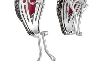 Oro Trend Oro Trend 18K White Gold 3.44 ct White/Black Diamond and Carnelian Omega Back Earrings