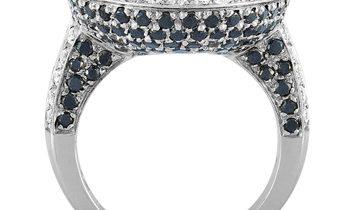 Oro Trend Oro Trend 18K White Gold 3.38 ct White/Black Diamond and Tourmaline Ring