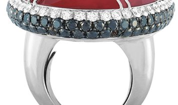 Oro Trend Oro Trend 18K White Gold 6.21 ct White/Black Diamond and Carnelian Cocktail Ring