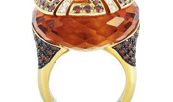 Oro Trend Oro Trend 18K Rose Gold 2.20 ct White/Brown Diamond and Citrine Dome Ring