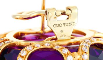 Oro Trend Oro Trend 18K Rose Gold 2.45 ct White/Brown Diamond and Amethyst Omega Back Earrings