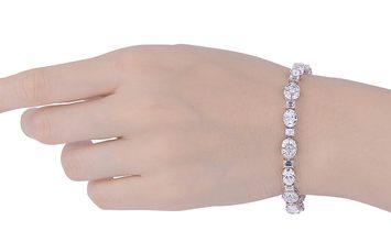 White Diamond Bracelet, 8.01 Ct. (14.30 Ct. TW), Oval shape, GIA Certified, JCBW05430157