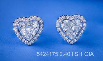 White Diamond Earrings, 2.40 Ct. (2.71 Ct. TW), Heart shape, GIA Certified, JCEW05424175