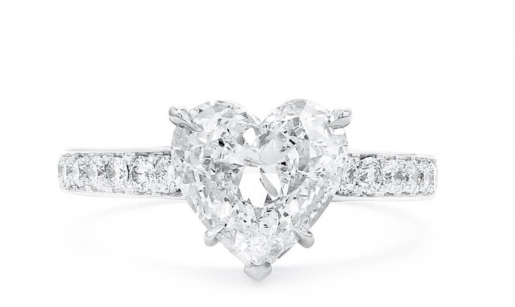 White Diamond Ring, 2.02 Ct. (2.37 Ct. TW), Heart shape, GIA Certified, 1196710584
