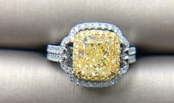 Fancy Light Yellow Diamond Ring, 2.72 Ct. (3.70 Ct. TW), Cushion shape, GIA Certified, 1192037814