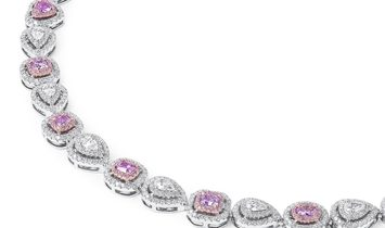 Multi-shape Pink & White Diamond Necklace, 14.53 TCW, GIA Certified