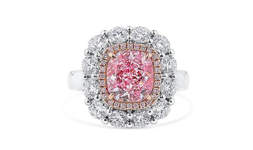 Light Pink Diamond Ring, 3.02 Ct. (5.09 Ct. TW), Cushion shape, GIA Certified, 6173550617