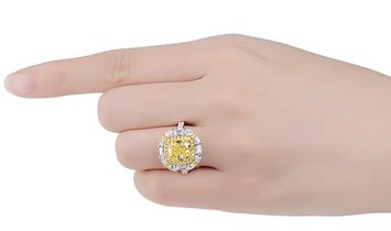 Fancy Intense Yellow Diamond Ring, 3.21 Ct. (4.87 Ct. TW), Cushion shape, GIA Certified, 1196359839