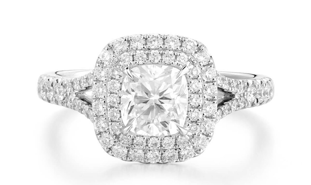 White Diamond Ring, 1.01 Ct. (1.49 Ct. TW), Cushion shape, GIA Certified, 2256476045