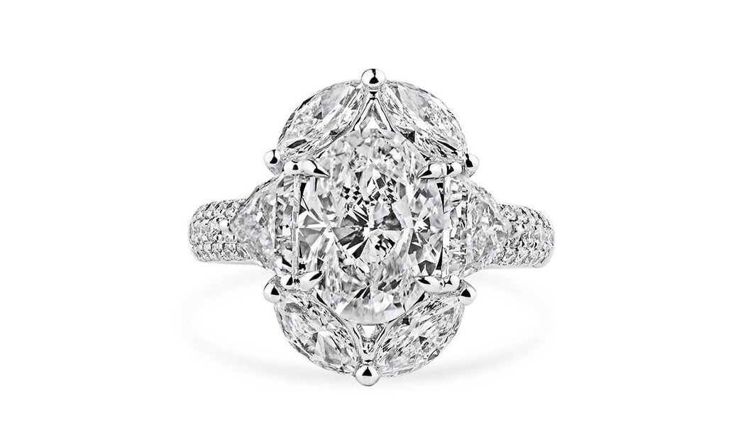 White Diamond Ring, 3.02 Ct. (5.22 Ct. TW), Oval shape, GIA Certified, 5151582481