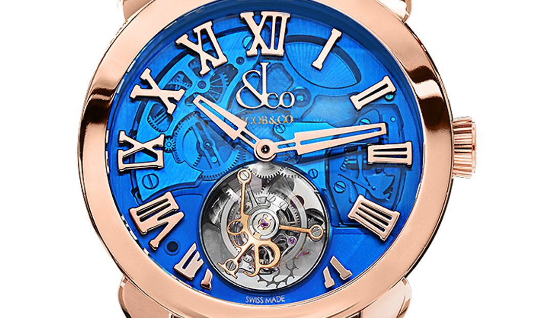 Jacob & Co. 捷克豹 [NEW] Palatial Flying Tourbillon Hours & Minutes Rose Gold Blue PT520.40.NS.QB.A