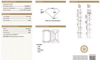 White Diamond Ring, 1.01 Ct. (1.29 Ct. TW), Emerald shape, GIA Certified, 1245509117