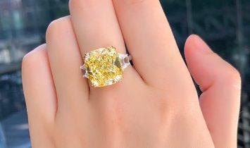 Fancy Light Yellow Diamond Ring, 15.02 Ct. (16.34 Ct. TW), Cushion shape, GIA Certified, 6207355159