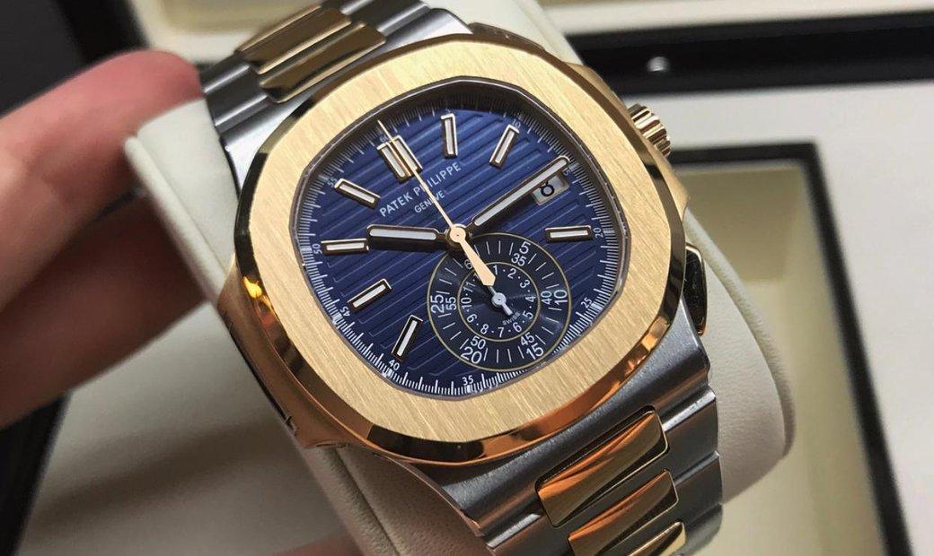 Patek Philippe [NEW] 5980/1AR Nautilus Chronograph Steel/Rose Gold Blue Dial Watch
