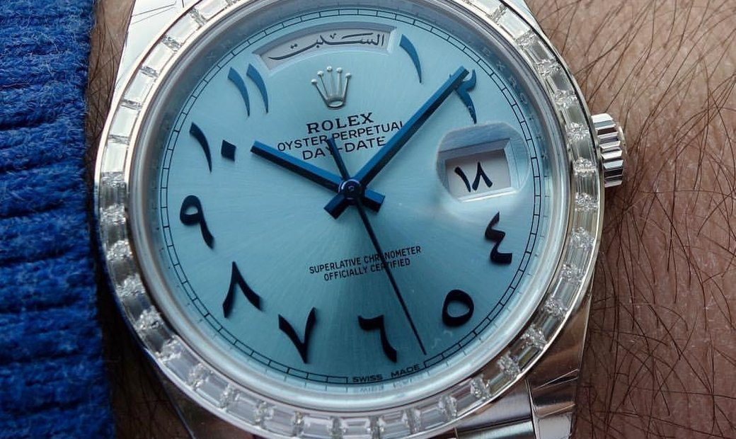 Rolex [NEW] Day-Date Oyster Perpetual Baguette Bezel Arabic Numerals 228396TBR
