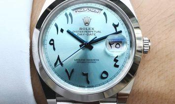 Rolex [NEW] Day-Date Ice blue Hindu Arabic Numerals Dial Dome Bezel Platinum President 228206