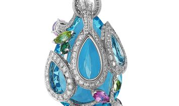 Cartier Cartier 18K White Gold Diamond, 68.78 ct Aquamarine, Kunzite and Multicolored Stones Necklac