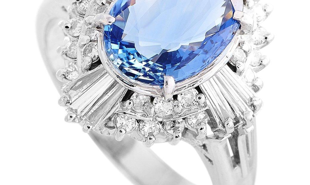 LB Exclusive LB Exclusive Platinum 1.10 ct Diamond and Sapphire Ring