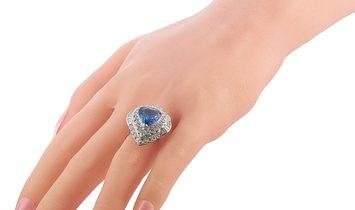 LB Exclusive LB Exclusive Platinum 1.83 ct Diamond and Sapphire Pear Ring