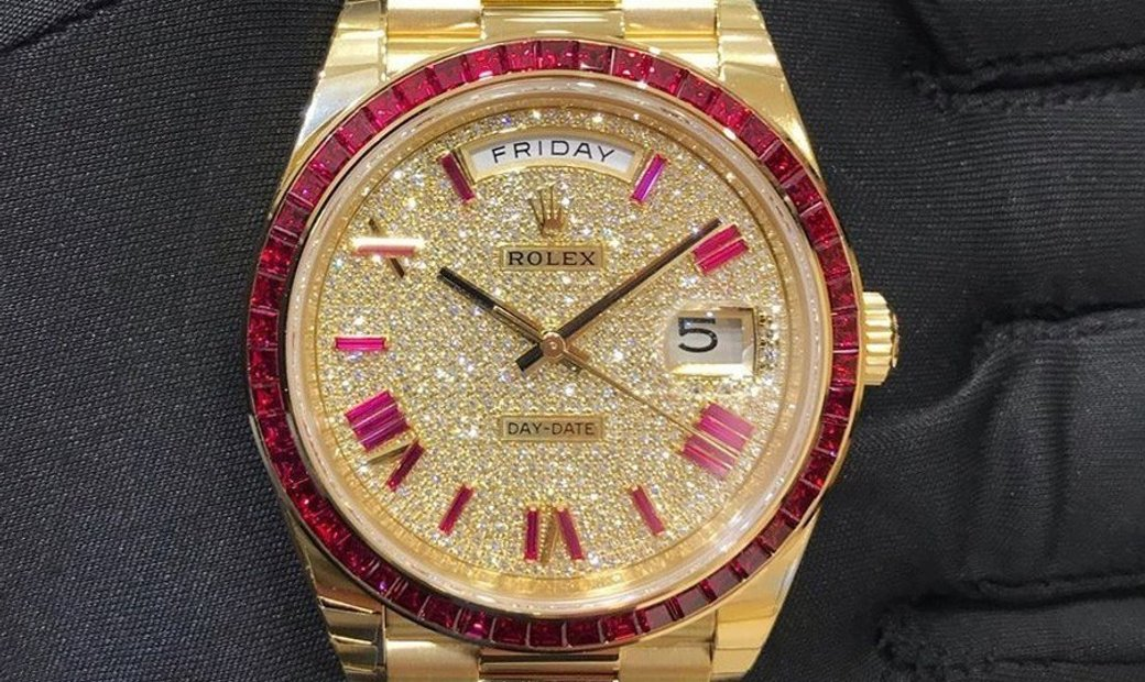 Rolex Day-Date 40 228398TRU 18ct Yellow gold and Ruby and Diamond set