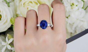 Natural Blue Sri-Lanka Sapphire Ring, 7.58 Ct. (8.31 Ct. TW), GRS Certified, GRS2014-017146, Unheate