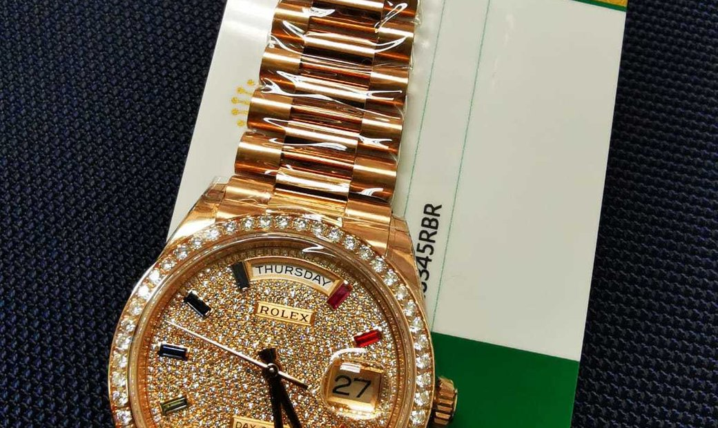 ROLEX [NEW] 128345RBR DIAMOND-PAVED RAINBOW SAPPHIRES DAY-DATE ROSE GOLD WATCH