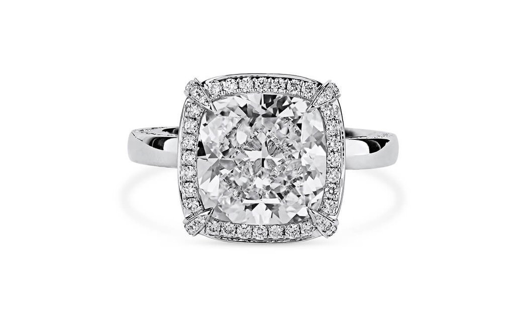 White Diamond Ring, 5.01 Ct. (5.90 Ct. TW), Cushion shape, GIA Certified, 1206045728