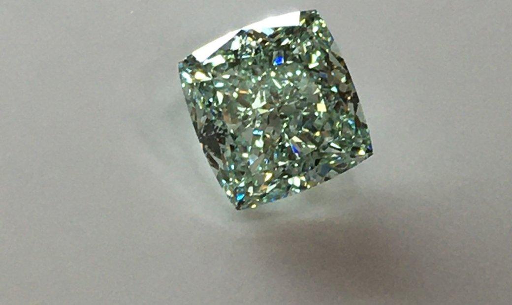 2.43ct Fancy Green Cushion Cut Natural Diamond