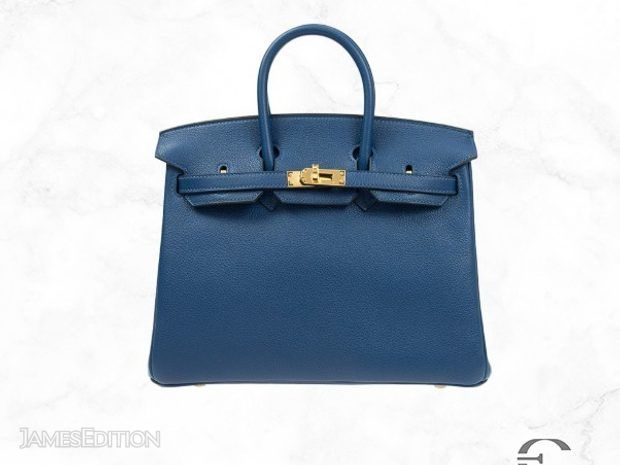 Hermes Birkin 25 S4 Blue Taurillion Clemence Leather (10925850)