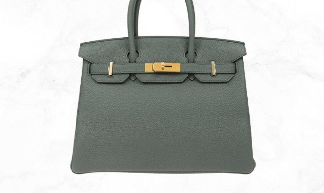 Hermes Birkin 30 Celadon (grey/green) in Togo Leather
