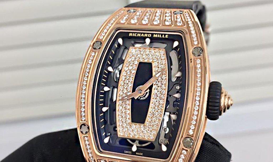 Richard Mille [NEW] RM 07-01 Rose Gold Med Set Diamonds Onyx Dial Black Lip