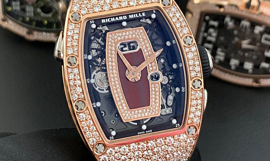Richard Mille [2019 NEW] RM 037 Rose Gold Med Set Diamonds Jasper Dial Red Lip