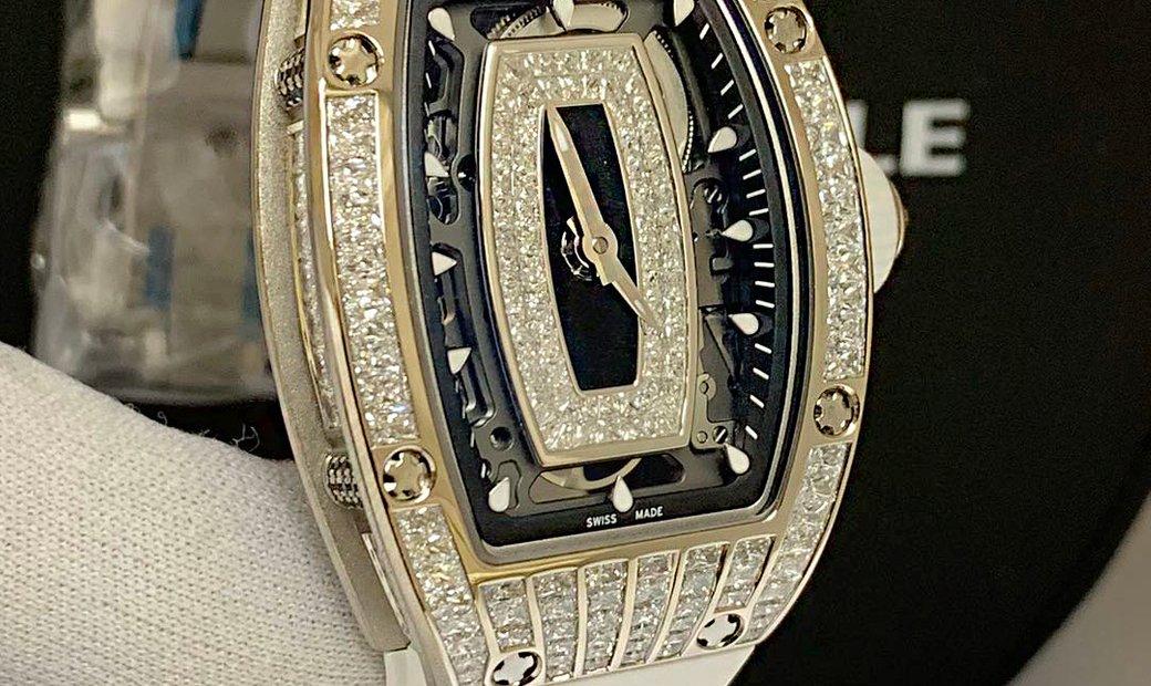 Richard Mille [NEW] RM 07-01 White Gold Full Set Baguette Onyx Dial Black Lip