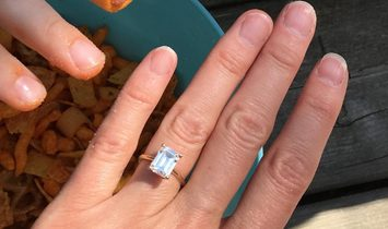 2.3 ct Emerald Cut Moissanite Solitaire Engagement Ring