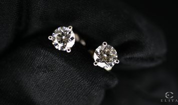 ROUND BRILLIANT CUT DIAMOND EARRINGS - 0.42 CARATS - 14 CARAT WHITE GOLD