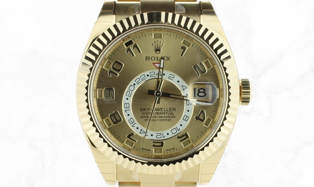Rolex Sky-Dweller 326938 18 Ct Yellow Gold Champagne dial
