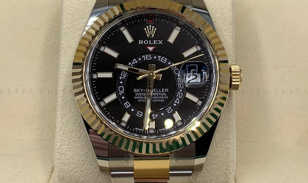 Rolex Sky-Dweller 326933-0002 Oystersteel and 18 Ct Yellow Gold Black Dial
